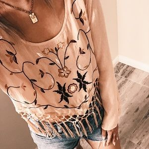 NEW* Wet Seal Embroidered Floral Top with Fringe